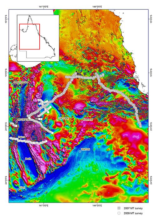 Map showing coverage of GSQ deep magnetotelluric data in Queensland