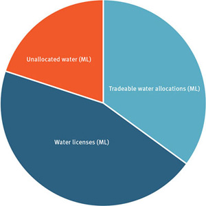 Pie chart showing allocation of water between unallocated water, tradeable water allocations and water licences.