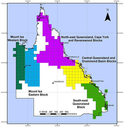 Data blocks in the Queensland surface and drillhole geochemistry database