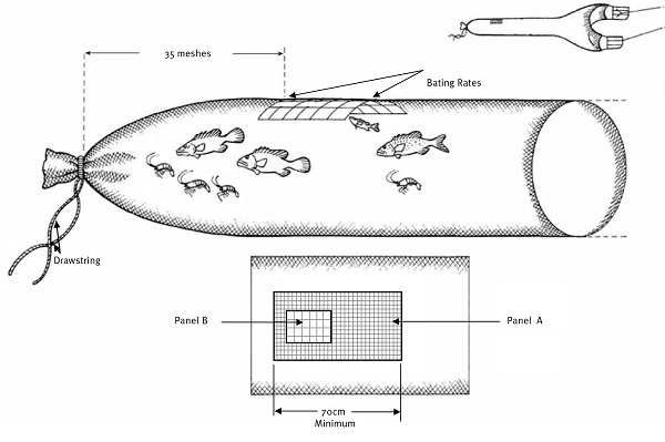 Image of a square mesh panel bycatch reduction device.