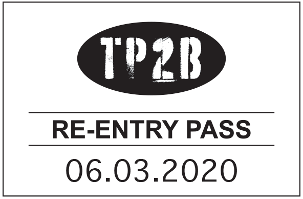 Example re-entry pass stamp, reading 'TP2B; Re-entry pass; 06.03.2020'.