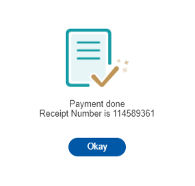 The receipt number will appear in a pop-up window.