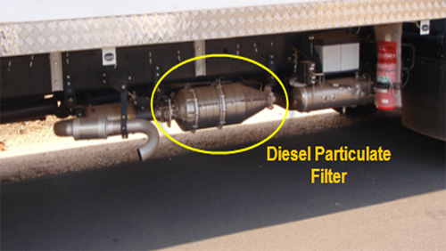 Exhaust system on a rigid truck with a diesel particulate filter fitted