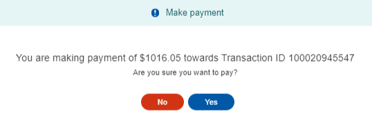 The Make payment pop-up asks if you are sure you want to pay.